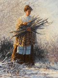 Paintings, BRUCE GREENE (American, b. 1953). Woman with Sticks. Oil on canvas. 12 x 9 inches (30.5 x 22.9 cm). Signed lower right:...