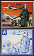 "Non-Sport Cards:Other, 1951 Bowman Red Menace Original Concept Art #22 ""Alaska Lookout""and Final Card...."