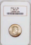 Washington Quarters: , 1940-D 25C MS67 NGC. NGC Census: (37/1). PCGS Population (19/0).Mintage: 2,797,600. Numismedia Wsl. Price for NGC/PCGS coi...