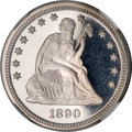 Proof Seated Quarters, 1890 25C PR68 ★ Ultra Cameo NGC....
