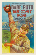 """Baseball Collectibles:Others, 1927 """"Babe Comes Home"""" One Sheet Movie Poster...."""