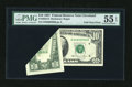 Error Notes:Foldovers, Fr. 2025-D $10 1981 Federal Reserve Note. PMG About Uncirculated 55EPQ.. ...