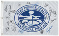 Golf Collectibles:Autographs, Circa 2000 PGA Stars Signed Pebble Beach Flag with Tiger Woods....