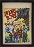 """Movie Posters:Adventure, Trader Horn (MGM, R-1953). Original Painting for Belgian Poster byWik (14"""" X 20""""). Adventure.. ..."""