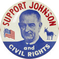 "Political:Pinback Buttons (1896-present), Lyndon B. Johnson: The Rarer 3"" Version of This Sought-After CivilRights Design...."