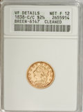 Classic Quarter Eagles, 1838-C $2 1/2 --Cleaned--ANACS. VF Details, Net Fine 12....