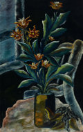 Fine Art - Painting, American:Modern  (1900 1949)  , Attributed to SIGMUND JOSEPH MENKES (American, 1896-1986). StillLife with Potted Plant. Oil on canvas. 37-1/2 x 24 inch...