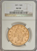 Liberty Double Eagles, 1871 $20 AU50 NGC....