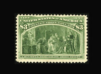 #243a, 1893, $3 Olive Green, VG-F 60 PSE. (Original Gum - Previously Hinged)