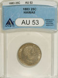 Coins of Hawaii: , 1883 25C Hawaii Quarter AU53 ANACS. NGC Census: (9/600). PCGSPopulation (19/1003). Mintage: 500,000. (#10987)...
