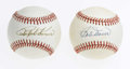 Autographs:Baseballs, Ralph Kiner and Bob Doerr Single Signed Baseballs. HOF'er RalphKiner was baseball's greatest home run hitter in the years ...
