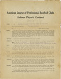 Autographs:Baseballs, 1923 Mike Gazella New York Yankees Player's Contract. Yankeescholars will surely recognize the name of this utility infiel...