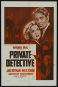 "Movie Posters:Mystery, Private Detective (Warner Brothers, 1939). One Sheet (27"" X 41""). Mystery. Starring Jane Wyman, Dick Foran, Gloria Dickson, ..."