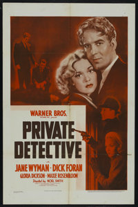 """Private Detective (Warner Brothers, 1939). One Sheet (27"""" X 41""""). Mystery. Starring Jane Wyman, Dick Foran, Gl..."""