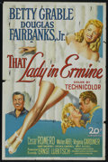 "Movie Posters:Romance, That Lady in Ermine (20th Century Fox, 1948). One Sheet (27"" X 41""). Romance. Starring Betty Grable, Douglas Fairbanks Jr., ..."