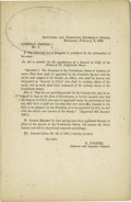 """Military & Patriotic:Civil War, Confederete Imprint Appointing Robert E. Lee General in Chief, """"Adjutant and Inspector General's Office General Orders No. 5..."""