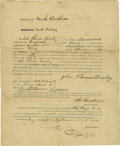 """Military & Patriotic:Civil War, Partially Printed Confederate Enlistment Certificate, two pages, 8"""" x 9.5"""", Charleston, South Carolina, April 3, 1861. Engli..."""