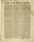 """Military & Patriotic:Civil War, Unionist Broadside, """"Appeal to the People of Tennessee"""", signed in print by Andrew Johnson, one page, 8.5"""" x 10.5"""", Nashvill..."""