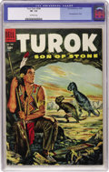 Golden Age (1938-1955):Miscellaneous, Four Color #596 Turok (Dell, 1954) CGC VF- 7.5 Off-white pages....