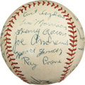 Autographs:Baseballs, 1953 Jacksonville Tars Team Signed Baseball with Hank Aaron....