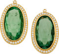 Estate Jewelry:Earrings, Green Tourmaline, Diamond, Gold Ear Pendants. ... (Total: 2 Items)