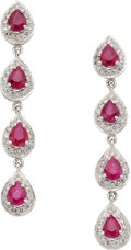 Estate Jewelry:Earrings, Ruby, Diamond, White Gold Earrings. ... (Total: 2 Items)