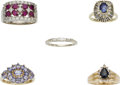 Estate Jewelry:Rings, Multi-Stone, Diamond, Gold Ring Lot. ... (Total: 5 Items)