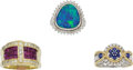 Estate Jewelry:Lots, Lot of Multi-Stone, Diamond, Gold Rings. ... (Total: 3 Items)