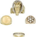 Estate Jewelry:Lots, Gentleman's Diamond, Gold Coin, Gold Ring Lot. ... (Total: 4 Items)