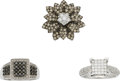 Estate Jewelry:Rings, Colored Diamond, Diamond, White Gold Ring Lot. ... (Total: 3 Items)