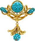 Estate Jewelry:Brooches - Pins, Victorian Turquoise, Gold Brooch. ...