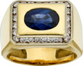Estate Jewelry:Rings, Gentleman's Sapphire, Diamond, Gold Ring. ...
