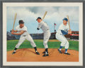 Autographs:Others, Circa 1985 Willie Mays, Mickey Mantle & Duke Snider Signed Oil Painting. ...