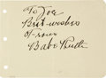 Autographs:Others, Early 1930's Babe Ruth Signed Album Page....
