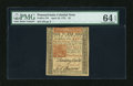 Colonial Notes:Pennsylvania, Pennsylvania April 10, 1775 £5 PMG Choice Uncirculated 64 EPQ....