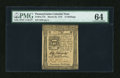 Colonial Notes:Pennsylvania, Pennsylvania March 25, 1775 14s PMG Choice Uncirculated 64....