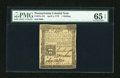 Colonial Notes:Pennsylvania, Pennsylvania April 3, 1772 1s PMG Gem Uncirculated 65 EPQ....