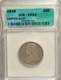 Bust Quarters, 1838 25C Capped Bust VF25 ICG. NGC Census: (2/157). PCGS Population (5/168). Mintage: 366,000. Numismedia Wsl. Price for NG...