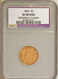 Three Dollar Gold Pieces, 1854 $3 --Improperly Cleaned--XF40 NCS. XF40 Details. NGC Census: (54/3075). PCGS Population (72/2285). Mintage: 138,618. Nu...