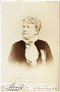 Autographs:Celebrities, Woman's Suffrage: Marietta Stow Signed Cabinet Card....
