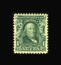 Stamps, #300, 1903, 1c Blue Green, XF 90 PSE. (Original Gum - Never Hinged)....