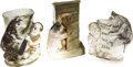 """Political:3D & Other Display (1896-present), Theodore Roosevelt: Three Caricature Roosevelt and """"Teddy Bear"""" Ceramic Match Holders or Vases.... (Total: 3 Items)"""