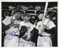 Autographs:Photos, Mickey Mantle Duke Snider And Pee Wee Reese Signed 8 x 10Photograph....