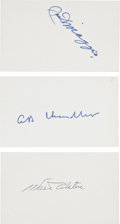 Autographs:Index Cards, Hall Of Fame Signed Index Cards Lot of 3....