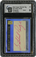 Autographs:Sports Cards, 2004 Topps Tribute Hall of Fame Baseball Satchel Paige CutSignature GAI Mint 9. ...