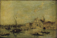 Manner of FRANCESCO GUARDI (Italian, 1712-1793) View of San Giorgio Maggiore, 19th Century Oil on ca