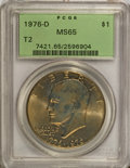 Eisenhower Dollars: , 1976-D $1 Type Two MS65 PCGS. PCGS Population (1326/714). NGC Census: (899/245). Mintage: 82,179,568. Numismedia Wsl. Price...