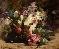 Fine Art - Painting, European:Antique  (Pre 1900), GEORGES JEANNIN (French, 1841-1925). Bouquet of Flowers in Basket. Oil on canvas. 21-5/8 x 25-5/8 inches (55 x 65 cm). S...