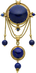 Estate Jewelry:Brooches - Pins, Victorian Lapis Lazuli, Gold Brooch, French. ...