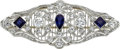 Estate Jewelry:Brooches - Pins, Edwardian, Diamond, Sapphire, Platinum Brooch. ...